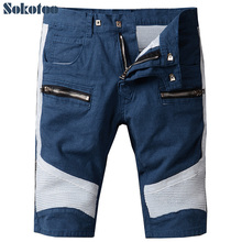Sokotoo Men's summer blue white patchwork biker jeans for motorcycle Casual knee length pleated cotton shorts
