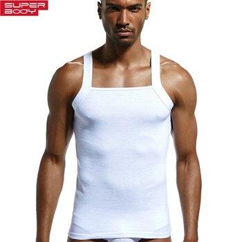 Algodão Sólida dos homens Superbody Undershirt Men Slim-Alta elástica Roupa Undershirts Camisola Dos Homens Sem Mangas Colete de Fitness Masculino