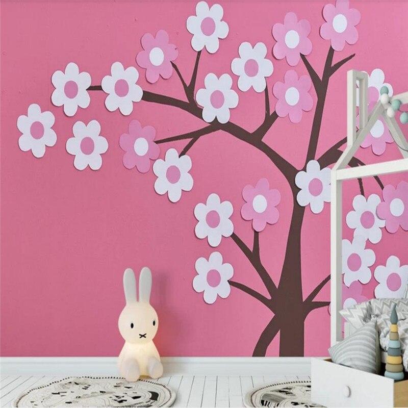 Wallpaper Kustom Lucu Kartun 3D Stereo Pink Bunga Latar Belakang Dinding Dekorasi Bahan Tahan Air