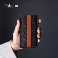 SYHBAN Len Handmade Cảm Thấy Wallet Phong Cách đối với iPhone X 6 mục đối với Samsung điện thoại di động serie Cổ Điển Này của tối giản sang trọng 100%