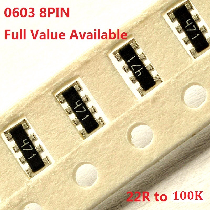 100PCS 0603 Networking Resistor Exclusion 8pin 22R/33R/51R/100R/150R/220R/330R/470R/510R/ohm 1K/2K/4.7K/5.1K/10K/33K/47K/51K100k