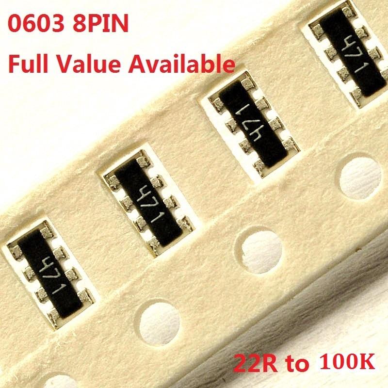 100PCS 0603 Networking Resistor Exclusion 8pin 22R/33R/51R/100R/150R/220R/330R/470R/510R/ohm 1K/2K/4.7K/5.1K/10K/33K/47K/51K100k