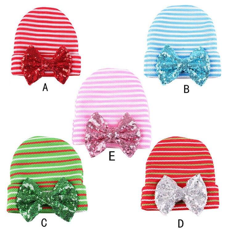 1 st Pasgeboren Baby Baby Streep Sequin Strik Ziekenhuis Hoed - Babykleding