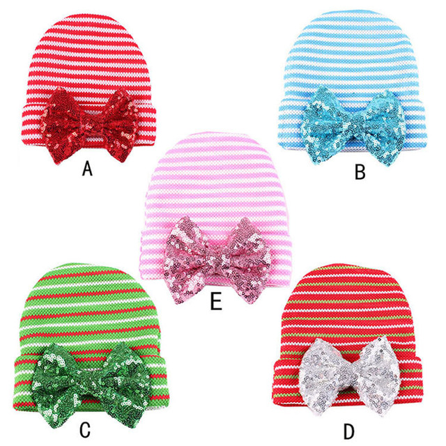 b391cfe85 US $2.72 9% OFF|1pc Newborn Infant Baby Stripe Sequin Bowknot Hospital Hat  Knitted Beanie Cap Hair Band Accessories 5 Colours U pick-in Hats & Caps ...