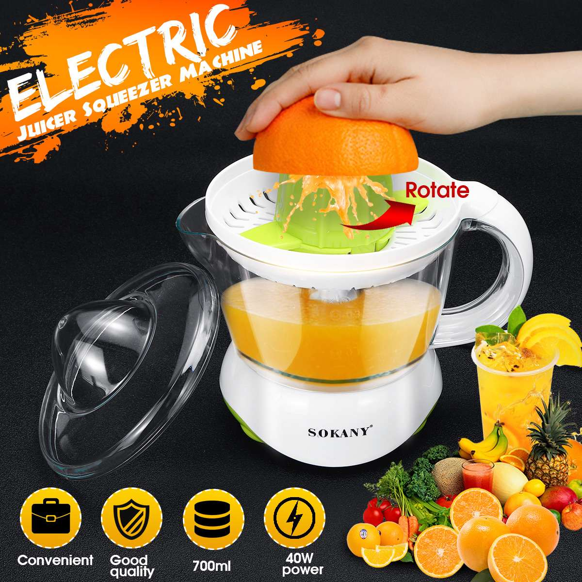 220-240V Electric Juicer Squeezer Machine Orange Lemon Citrus Fruit Press-Juice Extractor ABS 700ml Transparent Scale Marking
