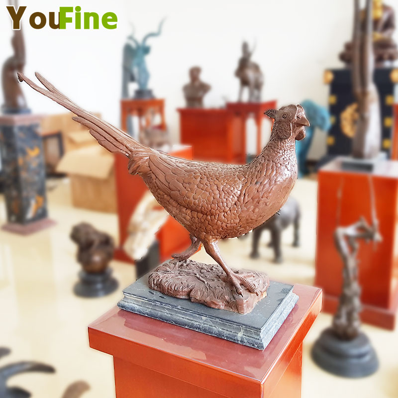 pure bronze pheasant Chicken Fowl crafts animal sculpture quality fashion furnishings