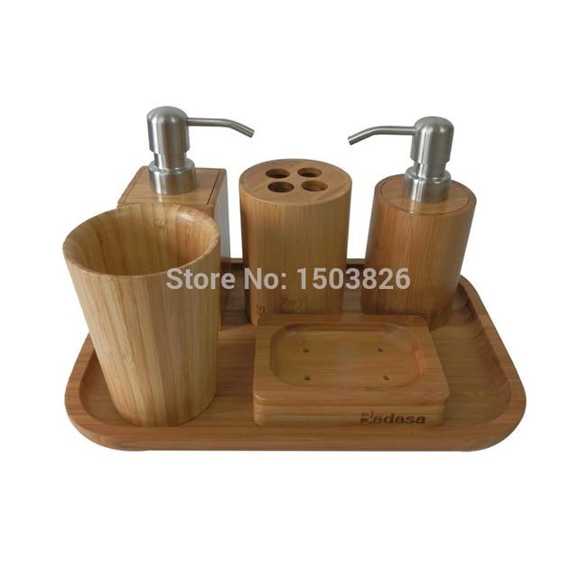 Badasa 6 pcs /set Eco Friendly Bamboo Bathroom Set Collection ...