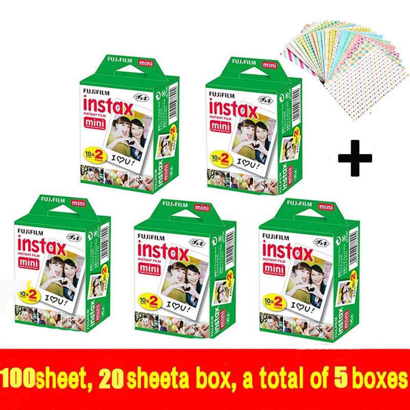 Genuine Fujifilm Instax Mini 100 sheet Film Instant White Edge For Fuji Mini 7s 8 25 50s 70 90 300 & Share SP-1 original 40 sheets fujifilm instax mini 8 films white edge 3 inch for instant camera 7 9 25 50s 70 90 sp 1 sp 2 photo paper