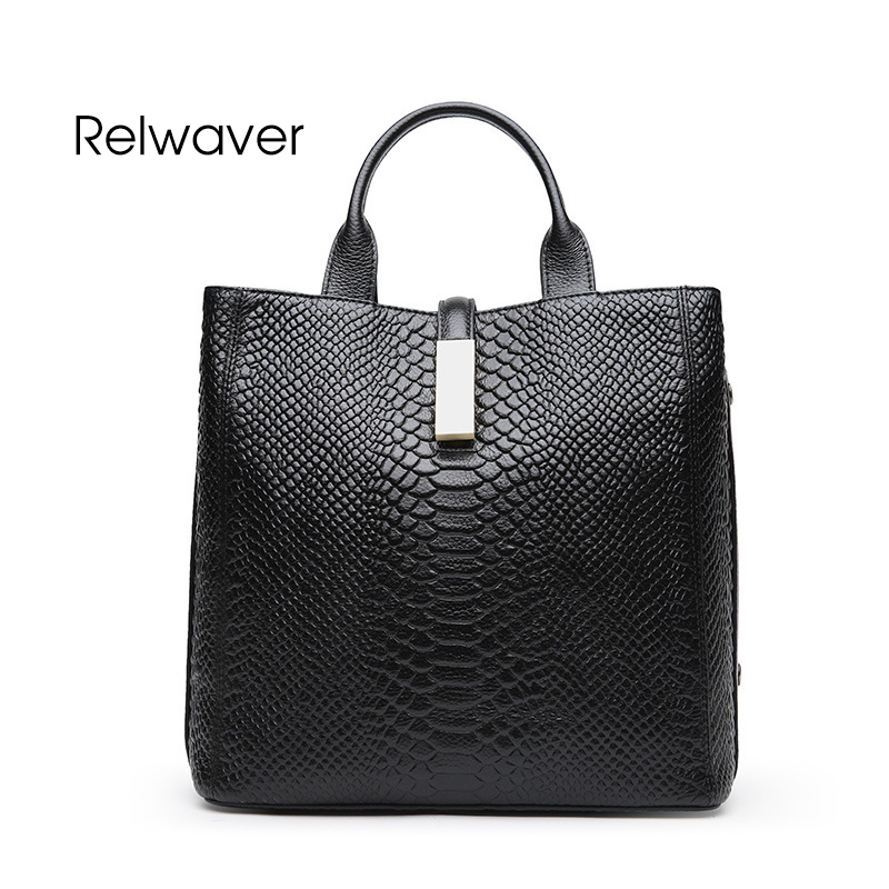 Relwaver genuine leather handbag women shoulder bag luxurious python cowhide tote bag women leather handbags black red grey hasp metallic hasp pu leather tote bag