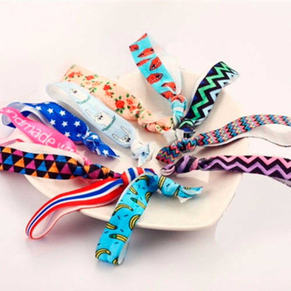 New Wholesale 10pcs Colorful Pattern No Crease Hair Ties