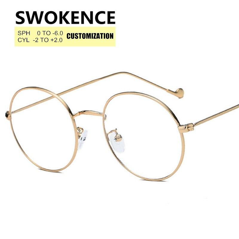 Bekleidung Zubehör Dioptrien Sph 0 Zu-6,0 Myopie Brille Frauen Männer Anpassbare Anti-müdigkeit Runde Rahmen Kurzsichtig Rezept Brille F176