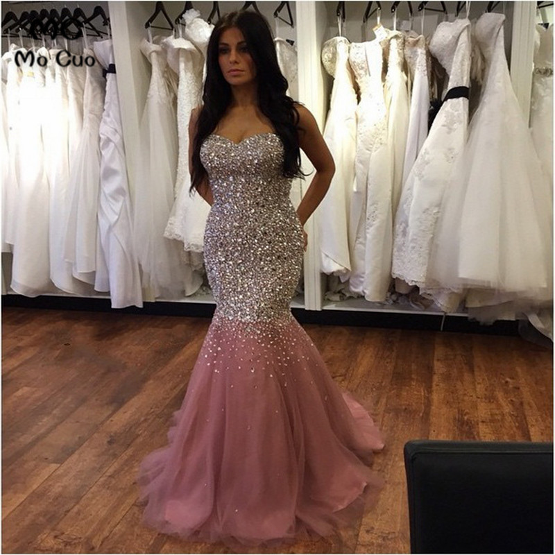 2018 Bling Bling Mermaid   Prom     Dress   with Heavy Crystal Beads by Hand Rhinestone Sweetheart Tulle Women Formal Long   Prom     Dresses