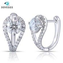DovEggs 14K 585 White Gold Moissanite Hoop Earrings for Women 2.54CTW Center 6.5mm F Color Moisssanite Earrings with Accents