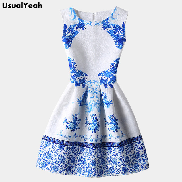 f1cf71850ab11 2018 Chinese Style Women Summer Dress Sleeveless Blue and White Porcelain  Print Dress Jacquard Party Dresses Vestidos S M L XL