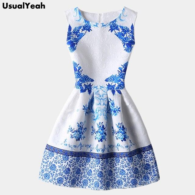 2018 китайский Стиль Для женщин летнее платье без рукавов синего и белого  фарфора платье с принтом 736f89bf5fbc9