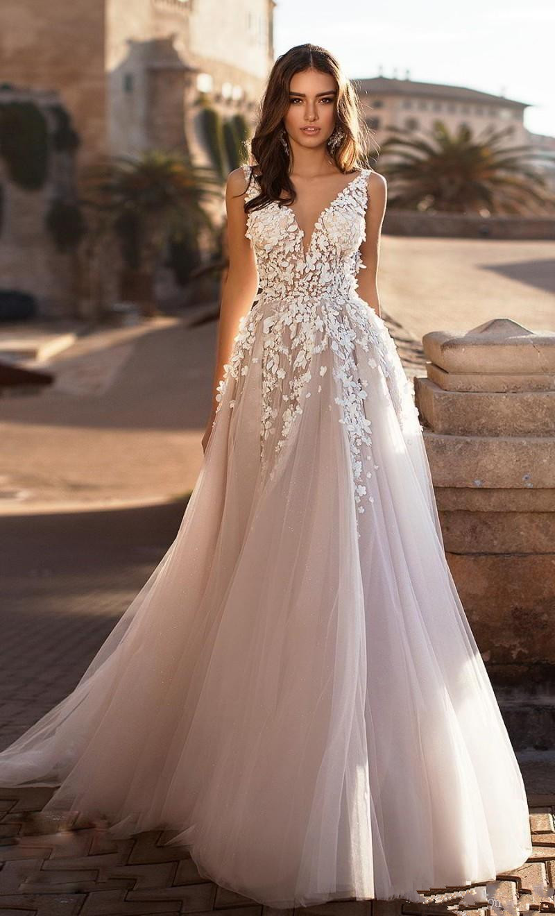 Stand Collar Floral Bride/'s Wedding Dresses Gowns Sleeveless Bridal Vestidos