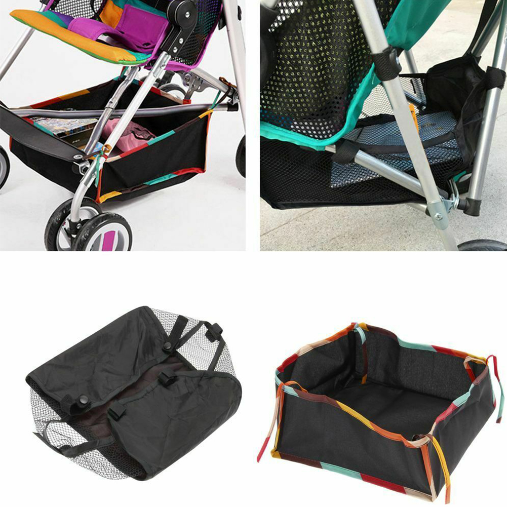 Stroller Storage Bag Oxford Cloth Baby Pushchair Large Capacity Home Shopping With Strings Outdoor Easy Use Casual Bottom Basket