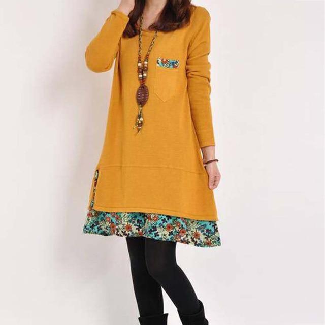 2020 New Autumn Women Long Sleeve Dresses Winter Casual Floral Patchwork Pocket O-neck Loose Mini Dress Plus 4XL Spring Vestidos 5