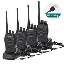 4 pçs baofeng BF 888S walkie talkie adaptador de carga usb rádio portátil cb rádio uhf 888s comunicador transceptor + 4 fone ouvido