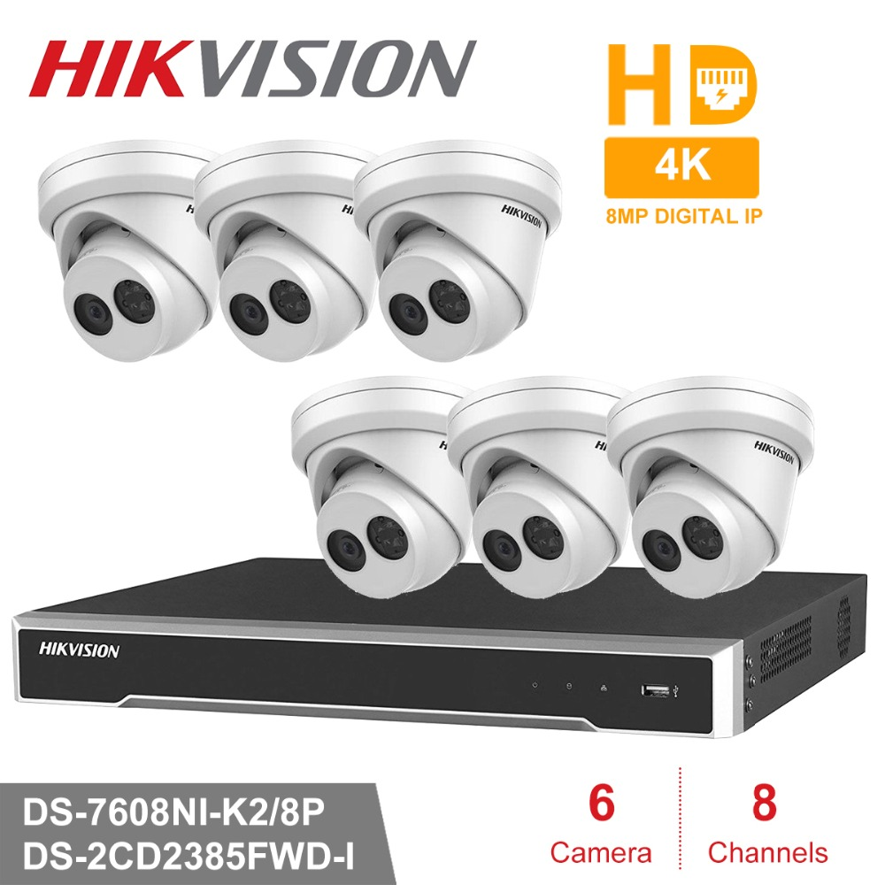 Hik 6pcs 8MP DS-2CD2385FWD-I & 8CH HD POE NVR Kit CCTV Security System Dome Outdoor IP Camera IR Night Vision Surveillance Set