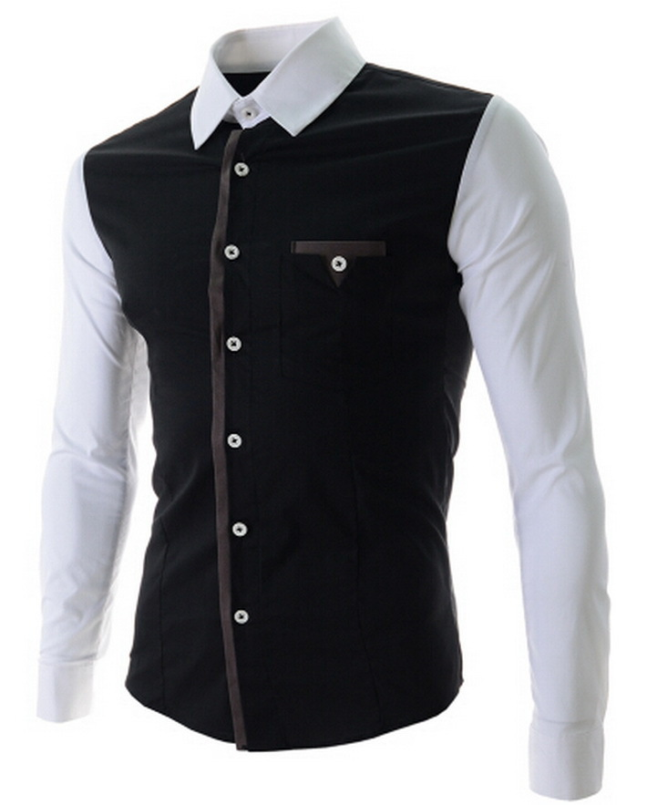 M 2XL 2015 Top Brand Men Shirt Black Patchwark Button Men's Cotton ...