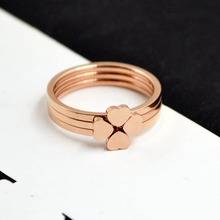 RE Fashion Elegant 316L Stainless Steel Rings Rose Gold Triple Band Ring Heart Shaped big rings for women J40 все цены