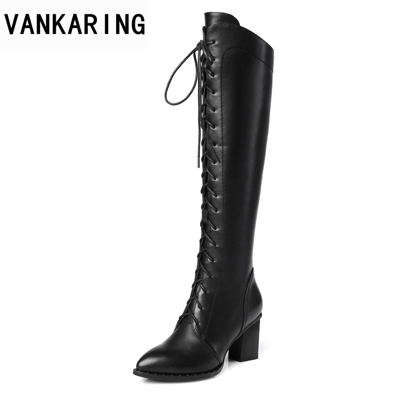 VANKARING women autumn winter knee high boots shoes high heels pointed toe zipper black brown shoes woman long riding boots car air conditioning refrigeration pressure test gauge r134a at2217