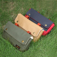 Tourbon Vintage Bicycle Handlebar Bag Front Pouch Retro Bike Panniers Waxed Canvas Waterproof Storage for Cycling