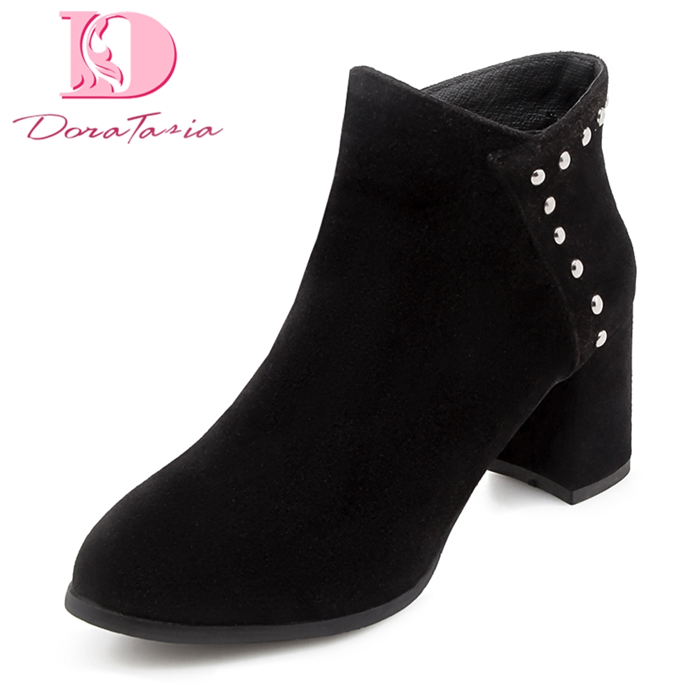 Doratasia 2018 large Size 32-46 square Heels Rivet Ankle Boots Woman Shoes Zip Up Fashion Dropship Shoes Woman Boots