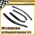 Vento janela defletor viseira para mitsubishi evolução evo 7 8 9 fibra de carbono car styling