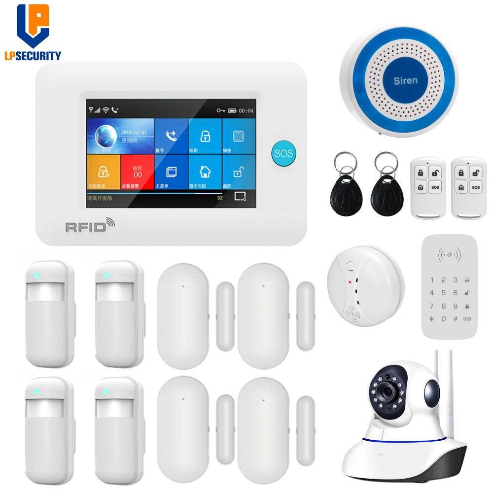 Wireless WiFi GSM GPRS intelligent home Alarm system 4 3 inch Touch Screen APP remote control