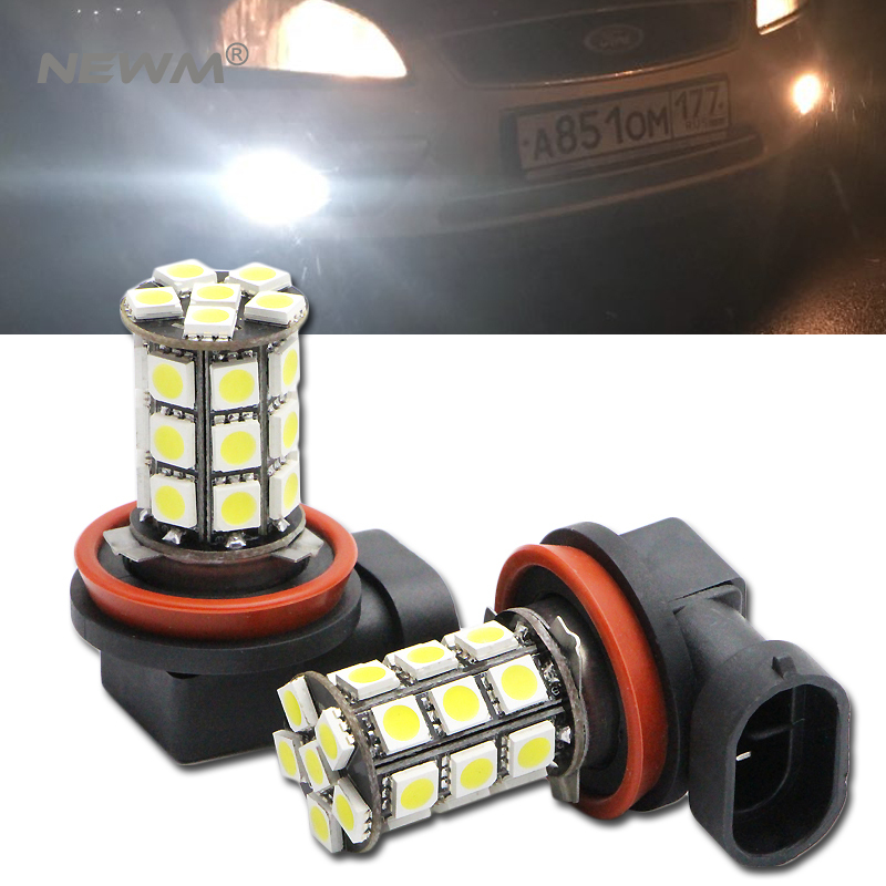 2x H8 H9 H11 LED canbus 5050 Bulbs For Fog Lights For FORD MONDEO MK3 MK4 C-MAX S-MAX FOCUS 01+ FUSION