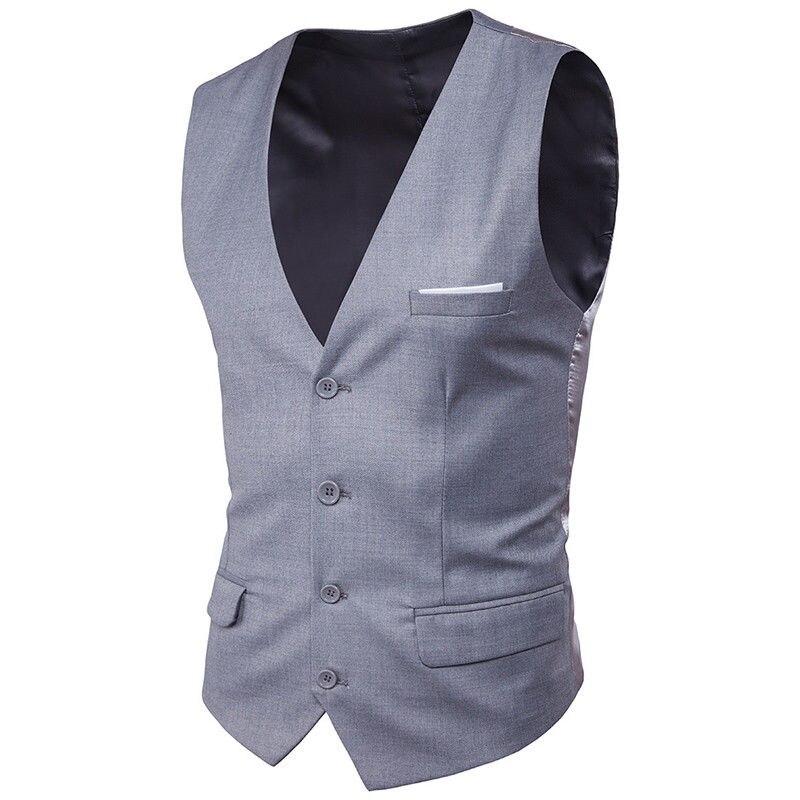 Mens Slim Fit Business Gilet Vest V-Neck Sleeveless Jacket Formal Wedding Waistcoat Top Solid 5 Colors 903-A662