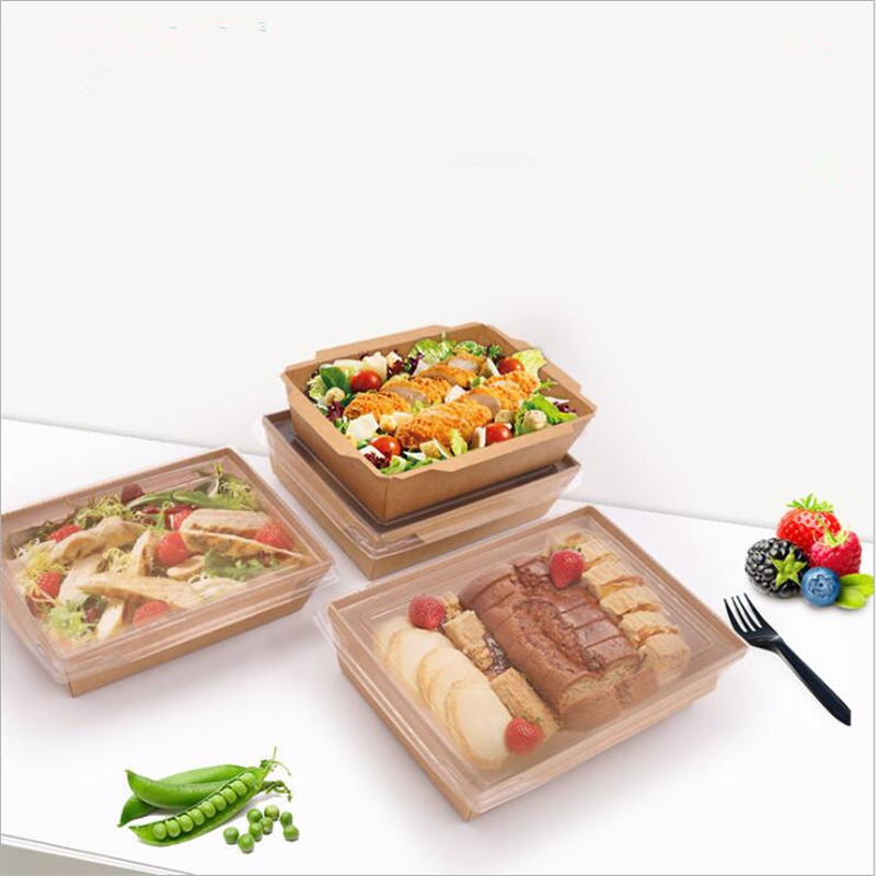 Disposable Food Containers Manufacturers 1200ML Kraft Paper Packing Box Cover Fast Food Boxes Rectangular Cow Kraft Paper Box