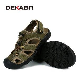 Image 4 - DEKABR Genuine Leather Summer Shoes Men Sandals Fashion Casual Shoes Male Sandalias Beach Shoes Soft Soles Breathable Men Shoes