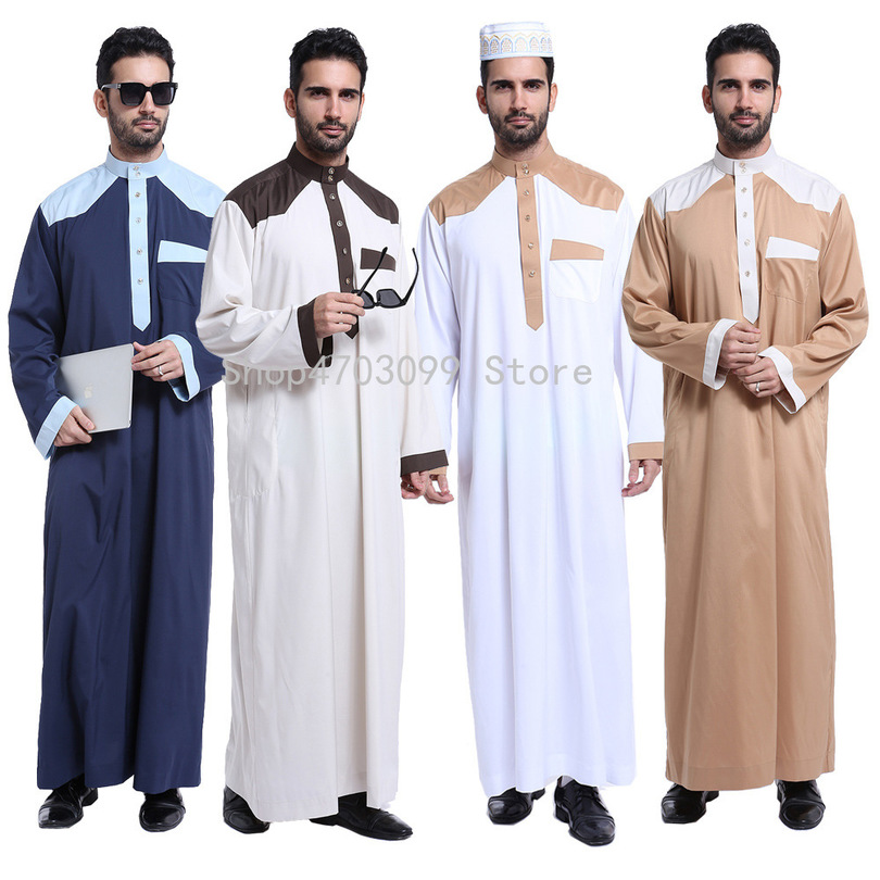 Arabic Abaya Muslim Dubai Kaftan Long Sleeves Adult Prayer Dress Pakistan Men Clothing Saudi Arab Male Jubba Thobe Prayer Suit gown