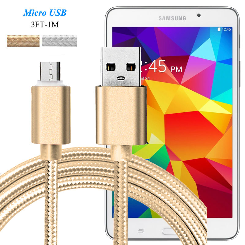 3FT Aluminum Nylon Micro USB Fast Charger Cable For Samsung Galaxy Tab A (2016) /Tab 4 T230 T330 T T530 Data Sync Charging Cable