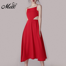 Max Spri 2019 New Style Square Neck Spaghetti Straps Lace Up Cut Out Back Women Party Mid-Calf Dress Red Wholesale INS Hot