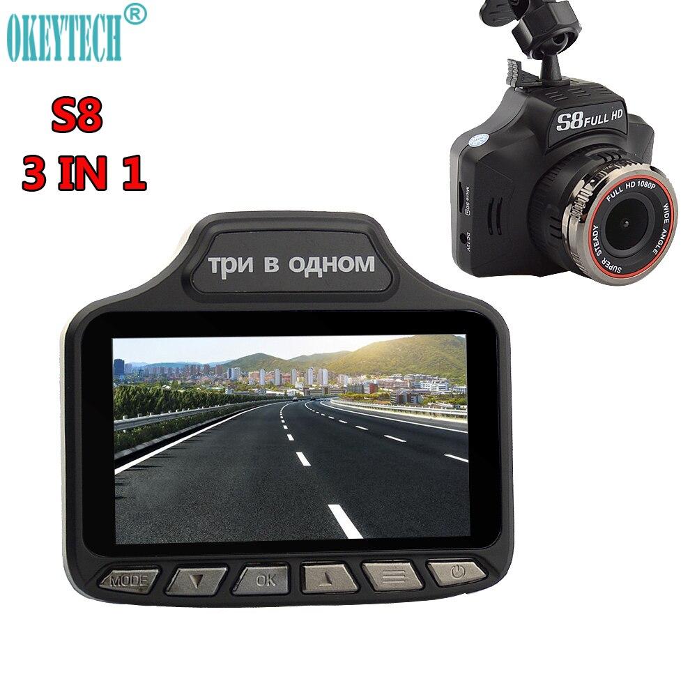 """Okeytech Новый 3.0 """"3 в 1 1080 P Ночное видение GPS информер России фиксированных данных Антирадары Видеорегистраторы для автомобилей регистраторы видео регистраторы Камера"""