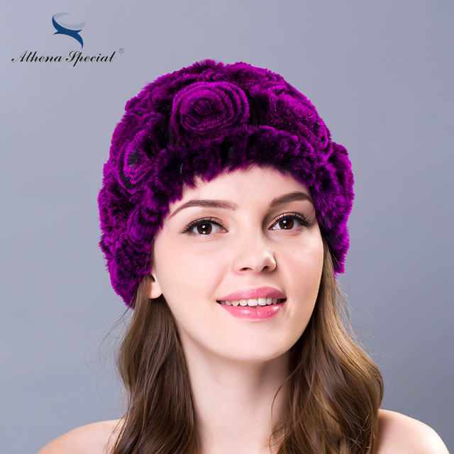 Athena Special Women Winter Rex Rabbit Fur Knitted Hat Caps Multi Color Flowers Type Casual Real Rabbit Hat For Promotion