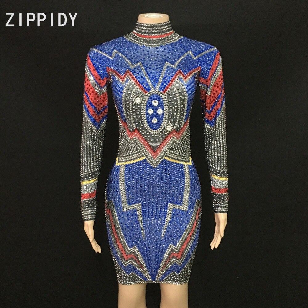 Strass clignotant robe Spandex fête d'anniversaire célébrer multicolore pierre tenue femmes chanteuse discothèque danse tenue robe