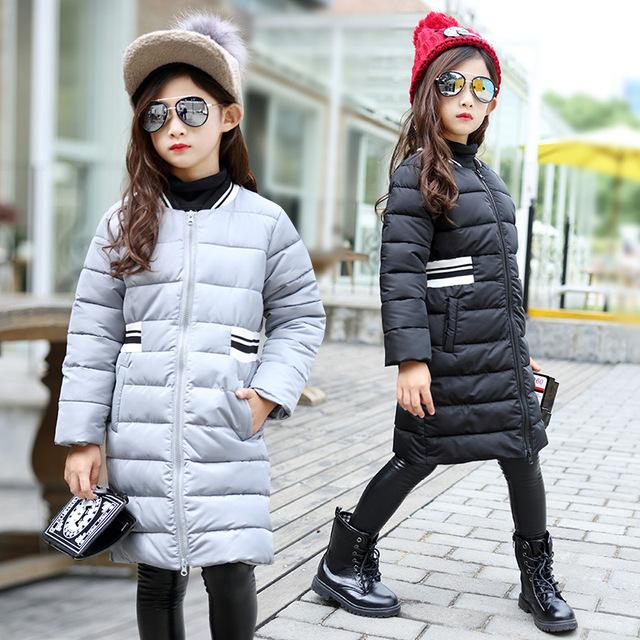 Novo Inverno Longo Estilo Meninas Criança Grosso Casaco Embossing 2016 Criança Crianças de Algodão Acolchoado Casaco Quente Não Contêm Acessório, 4-14Y