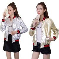 Fashion Baseball Jacket women spring autumn short PU leather coats lady motorcycle slim jackets female silver gold outwear X7101