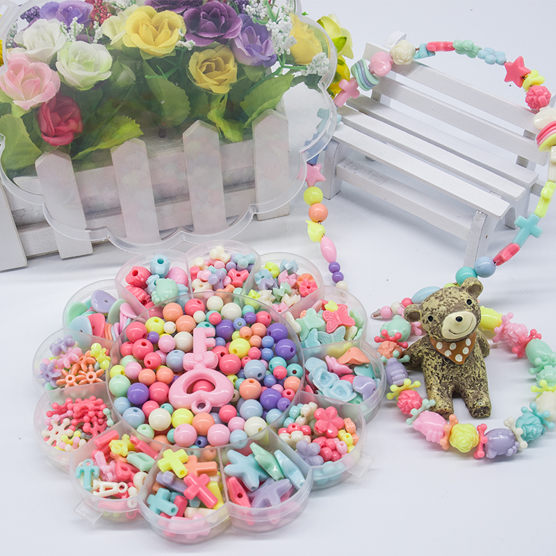 Kid Beads Kit Set Findings For Jewelry Making Girl Toy Mix Color Spacer Acrylic Beads With Box For Children DIY Bracelet
