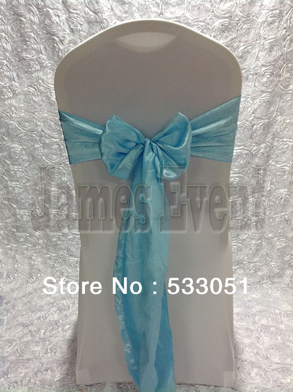 Hot Sale Light Baby Blue Satin Chair Sash For Wedding Event & Party Decoration
