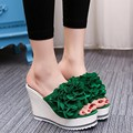 {D&H}Women's Shoes 2017 Summer Flower Wedges Slippers Outside Super High Heel Crystal Heel platform Flip Flop Sandals Gift Socks