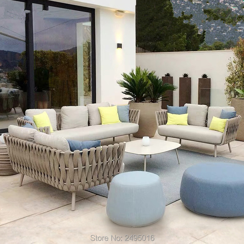 6-person Outdoor Furniture Patio Aluminum Coversation Set With Coffee Table And Cushions For Poolside ,porch ,backyard