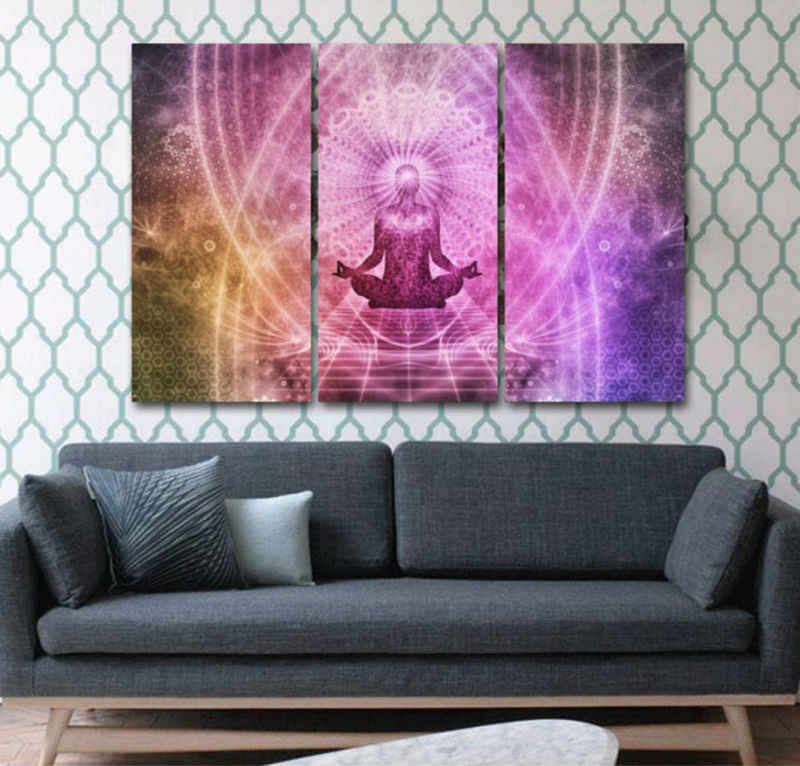 Framed 3 Pcs art Print Chakras Canvas Painting Print  oil painting on Canvas Home Decor Wall Art Print Painting picture PT0278