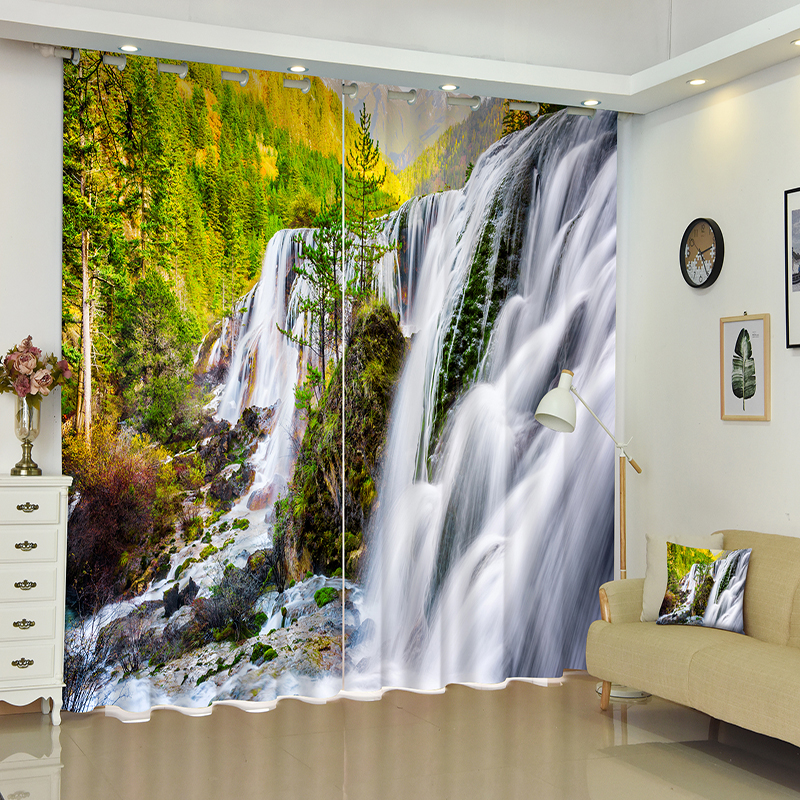 Cafe Hotel 3D Blackout Curtains Green Forest Creek Natural