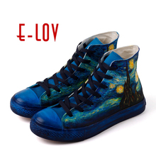 E-LOV Women High Top Canvas Shoes Van Gogh Starry Night Hand Painted Casual Shoes Women Canvas Design Vulcanized Shoes Women(China)